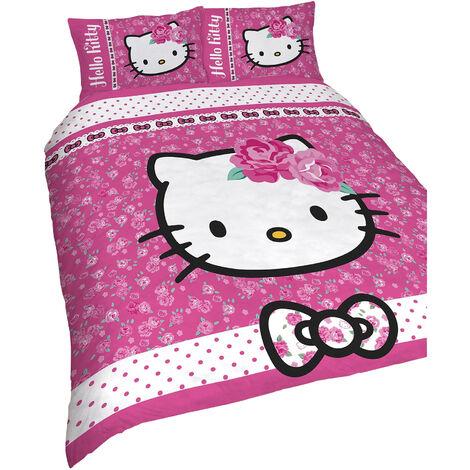Hello Kitty Childrens Girls Sommerwind Reversible Duvet Cover Bedding Set (Double) (Pink)
