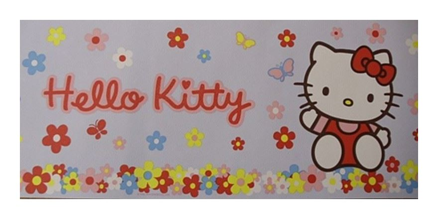 Image of Wallpaper Border Flowers Daisy Floral Cat Blue Multicoloured 10m - Hello Kitty