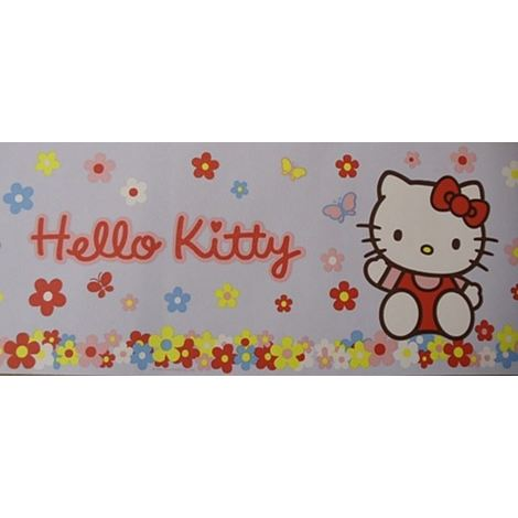 Hello Kitty Wallpaper Border Flowers Daisy Floral Cat Blue Multicoloured 10m