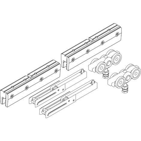 Helm 140 Schiebetürbeschlag Set für ESG Glasschiebetüren | mit Einzugsdämpfung, ohne Laufschiene | Tragkraft 140kg