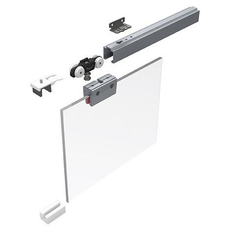 HELM 53 Set Ferrures pour portes coulissantes en verres 50 kg - sans rail