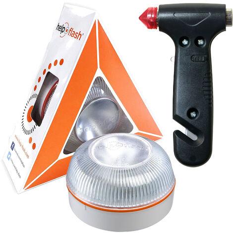 HELP FLASH - luz de emergencia AUTÓNOMA preseñalización de peligro y linterna, homologada, normativa DGT, V16, activación AUTOMÁTICA + MARTILLO de seguridad portátil de emergencia, para coche: rompeventanas y cortador de cinturón de seguridad