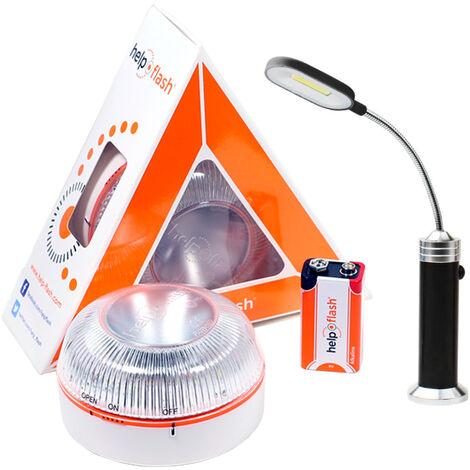 HELP FLASH - luz de emergencia AUTÓNOMA, señal v16 de preseñalización de peligro y linterna, homologada, normativa DGT, V16, con base imantada, activación AUTOMÁTICA, hecho en España con lampara led magnetica 23x12 cm