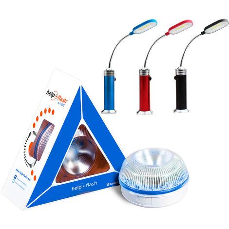 HELP FLASH - luz de emergencia AUTÓNOMA, señal v16 de preseñalización de peligro y linterna, homologada, normativa DGT, V16, con base imantada, activación AUTOMÁTICA, hecho en España + lámpara LED magnética 23 cms x 12 cm, en aelación de aluminio