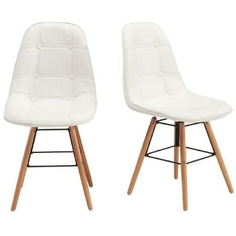 HEMA Lot de 2 chaises de salle a manger - Simili blanc et pieds en hetre massif - Scandinave - L 44 x P 53 cm Generique