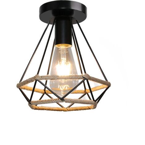 Hemp Rope Ceiling Lamp 20CM Retro Diamond Chandelier Black Iron Art Lampshade for Loft Bedroom