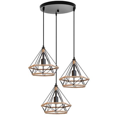 "main image of ""Hemp Rope Chandelier Retro Diamond 25CM Ceiling Light 3 Lights Industrial Pendant Light for Living Room Dining Room Bar Balcony Black"""