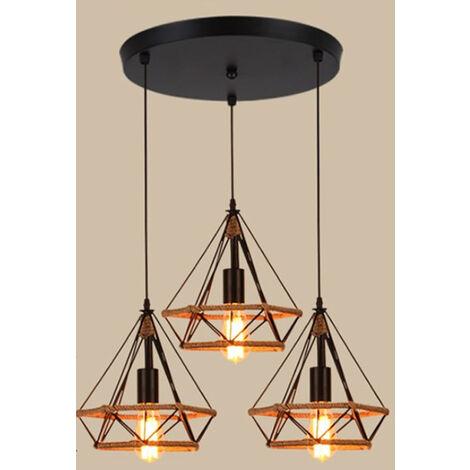 "main image of ""Hemp Rope Hanging Lamp Diamond Ceiling Light Retro Industrial Chandelier Black Vintage 3 Lights Pendant Light Ø25cm"""