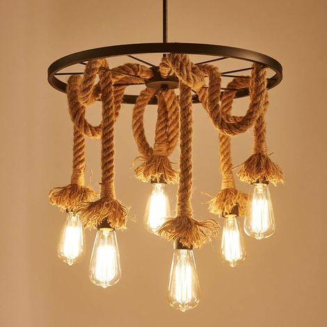 Hemp Rope Pendant Light Industrial Chandelier Vintage Creative Wheel Ceiling Lamp 6 Lights Suspension Light for Living Room Loft Restaurant Bar Decorative Fixture