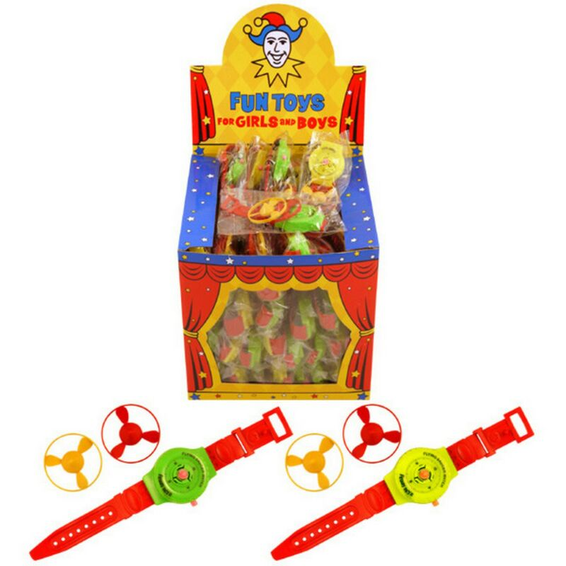 Image of Childrens/Kids Asssorted Coloured Flying Disc Watch (Pack Of 24) (One Size) (Multicoloured) - Henbrandt