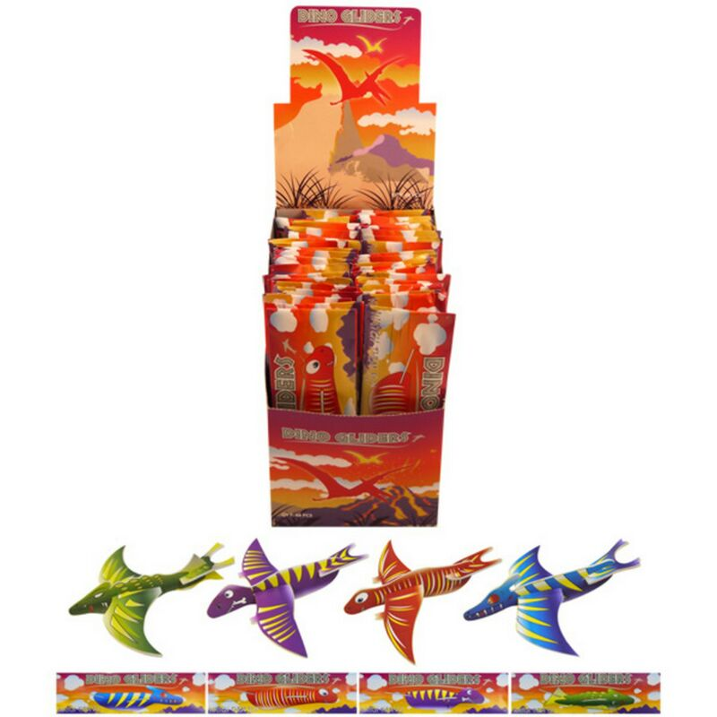 Image of Childrens/Kids Dinosaur Air Gliders (Box Of 48) (One Size) (Multicoloured) - Henbrandt