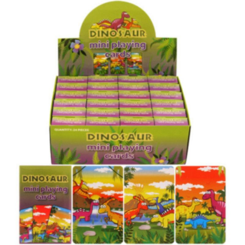 Image of Childrens/Kids Dinosaur Design Mini Playing Cards (Box Of 24) (One Size) (Multicoloured) - Henbrandt
