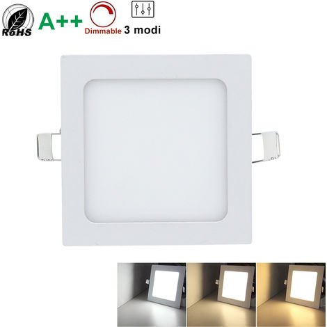 Hengda 10x Panneau LED Carré Encastré Lumière variable Spot Led Encastrables Éclairage Plafond Pour salle de bain,Cuisine,Salon,Couloir,lot de 10 [Classe énergétique A+]