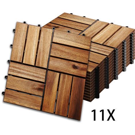 Hengda 1m2 carreaux de bois carreaux de bois d'acacia 11 pièces 30x30 cm carreaux de balcon carreaux de jardin carreaux de patio pour jardin patio balcon