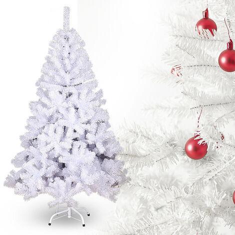 Hengda 220 cm Sapin de Noël Artificiel Tronc Vert Matériel PVC difficilement inflammable avec système de pliage rapide et support inclus - Décoration fêtes Arbre de noël-Blanc