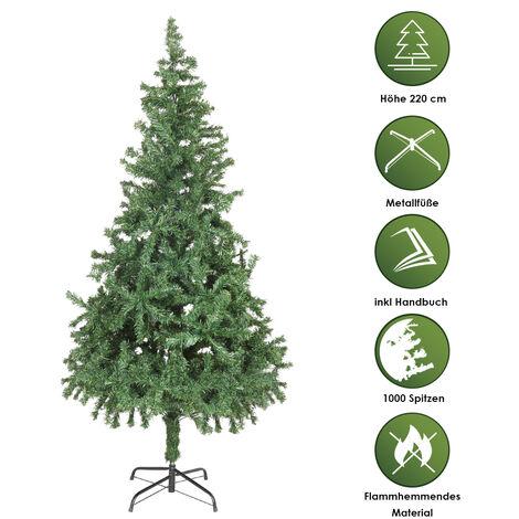 Hengda 220 cm Sapin de Noël Artificiel Tronc Vert Matériel PVC difficilement inflammable avec système de pliage rapide et support inclus - Vert décoration de noël