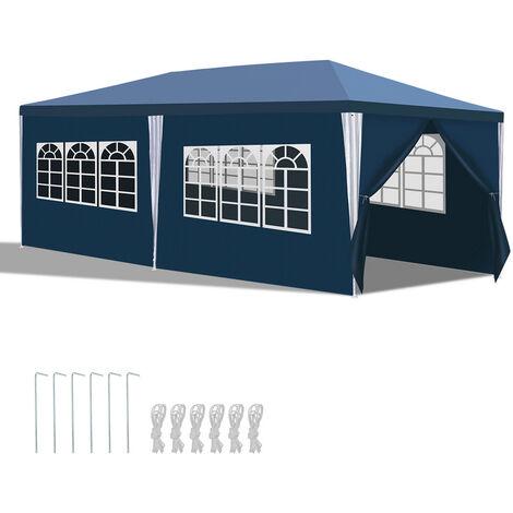 Hengda 3x6m Pavillon weiß Partyzelt UV-Schutz Material PE-Plane Hochwertiges GartenPavillon mit 6 Seitenteilen für Hochzeit Party Garten Camping