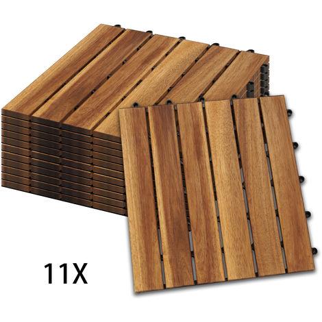 Hengda Carrelage en bois set de 11 tuiles 1m² utilisable comme tuiles de terrasse et tuiles de balcon en bois d'acacia 30x30 cm pour balcon terrasse jardin