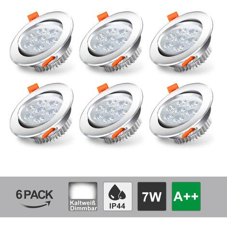 Hengda LED Einbaustrahler Schwenkbar 230V IP44 Leuchtmittel LED Spot Einbauleuchte Deckenspot Deckeneinbaustrahler Einbauspot