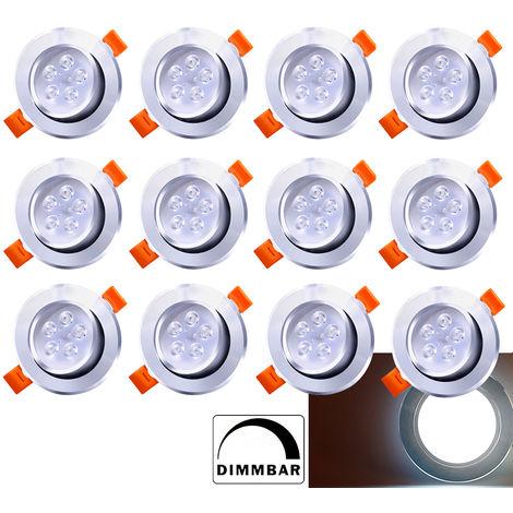 Hengda Spots LED Encastrables 5W Dimmable Blanc Chaud 3200K Plat Pour Salle de Bain, Plafonnier Encastr