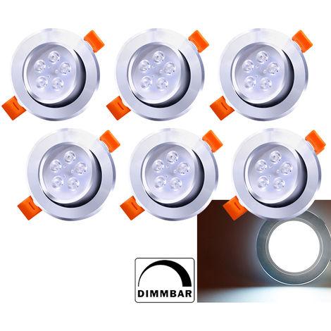 Hengda Spots LED Encastrables 5W Dimmable Blanc Chaud 3200K Plat Pour Salle de Bain, Plafonnier Encastré Étanche 420LM Equivalente de 25W Lampe de plafond 230V