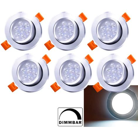 Hengda Spots LED Encastrables 7W Dimmable Blanc 6500K Plat Pour Salle de Bain, Plafonnier Encastré Étanche 560LM Equivalente de 60W Lampe de plafond 230V, Lot de 6 [Classe énergétique A++]