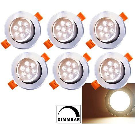Hengda Spots LED Encastrables 7W Dimmable Blanc Chaud 3200K Plat Pour Salle de Bain, Plafonnier Encastré Étanche 560LM Equivalente de 60W Lampe de plafond 230V, Lot de 6 [Classe énergétique A++]