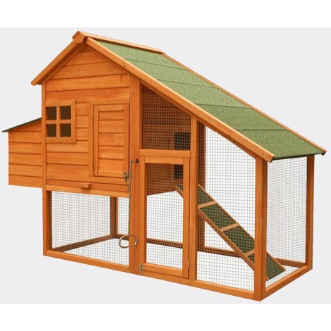 Henhouse with freewheel and nest box, spruce, 1710x660x1200mm