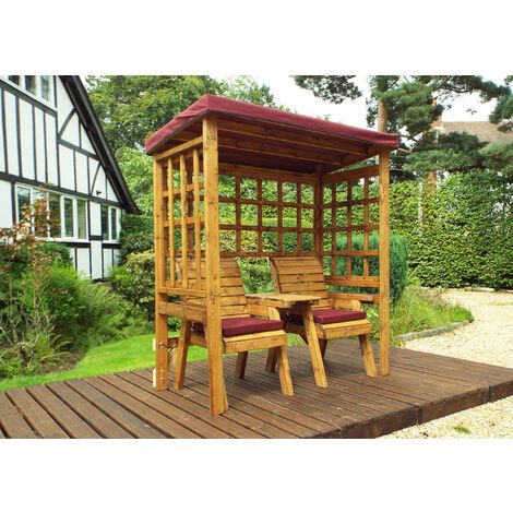 Henley Twin Seat Arbour Burgundy - Fully Assembled