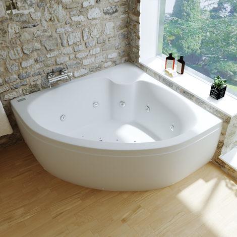 Hera bañera acrilíca rinconera de 1600x1600 mm con hidromasaje y cromoterápia