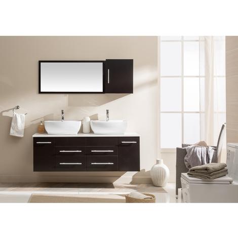 Hera Wenge : Ensemble de salle de bains Meubles + 2 vasques + 1 miroir
