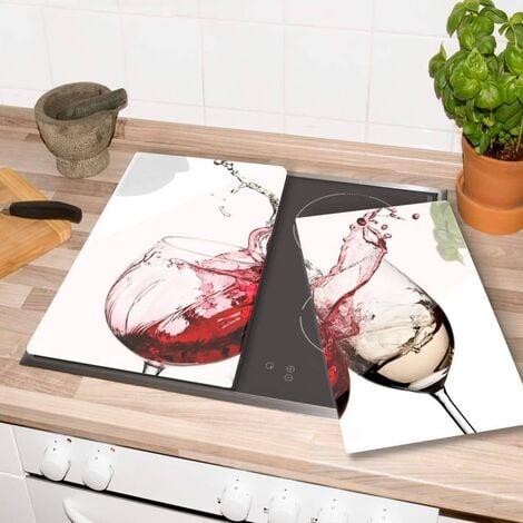 Herdabdeckplatte Weingläser 60x52cm Servierplatte Glasabdeckplatte