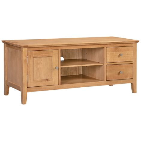 """Hereford Oak 1 Door 2 Drawer TV Cabinet in Light Oak Finish 120cm Wide   Wooden Television Unit   Solid Wood Entertainment Stand up to 55"""" screen size"""