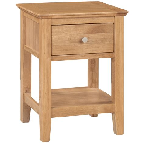 """main image of """"Hereford Oak 1 Drawer Small Side Table in Light Oak Finish   Solid Wooden End / Lamp Table / Bedside Cabinet / Nightstand"""""""
