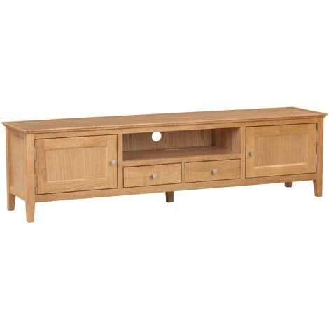 Hereford Oak 1.8 Metre Long TV Stand with Light Oak Finish | Wooden Television Cabinet Unit | Solid Wood Entertainment Stand