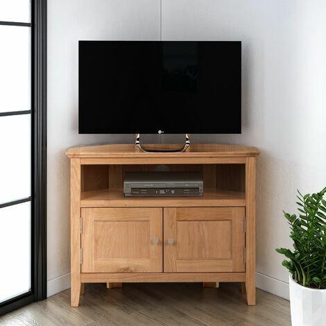 Hereford Oak 2 Door Corner TV Stand Unit in Light Oak Finish   Media Cabinet   Entertainment Table   Solid Wooden Unit