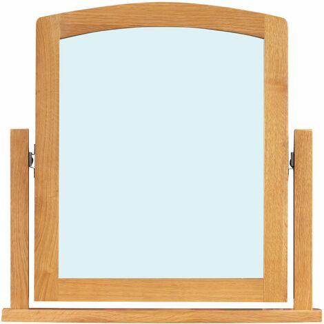 Hereford Oak Dressing Table Mirror in Light Oak Finish | Solid Wooden Trinket / Makeup / Framed Vanity Mirror