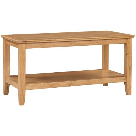 Hereford Oak Large Coffee Table with Shelf in Light Oak Finish 90cm   Solid Wooden Rectangular TV Stand   Lounge Storage
