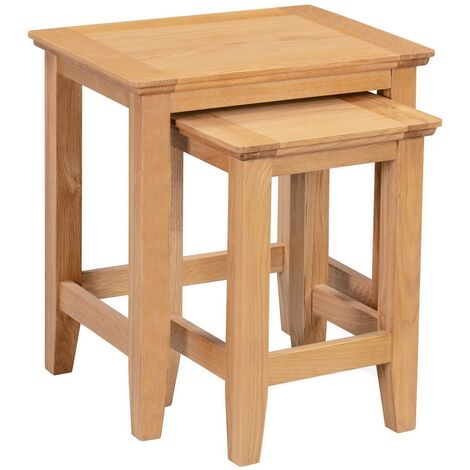 Hereford Oak Nest of Tables in Light Oak Finish | Solid Wooden Side / End / Lamp Nesting Tables Set