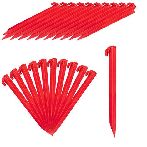 Heringe, 32er Set, leichte Zeltheringe, weiche & sandige Böden, 31 cm lang, Kunststoff, Bodenanker, rot