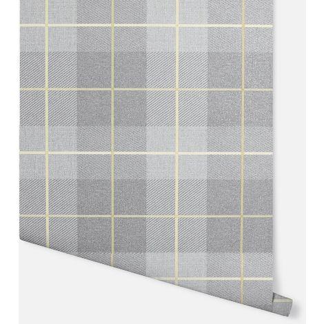 Heritage Tartan Ochre & Grey Wallpaper - Arthouse - 299000