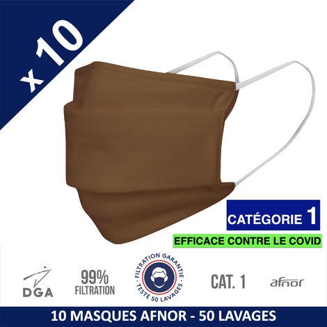 HEROLAB - 10 masques en tissu lavables et réutilisables UNS 1 - Grand Public Afnor DGA - CATEGORIE 1- Filtration 99% - 50 lavages - ACAJOU (FT109)