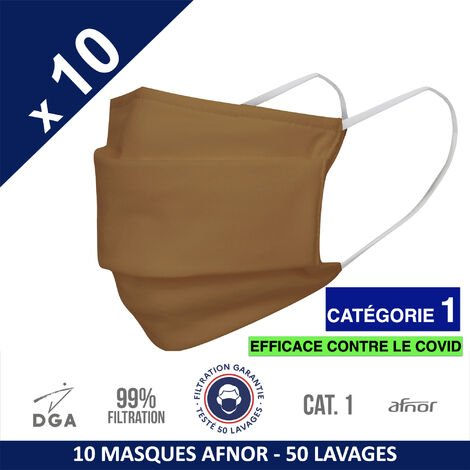 HEROLAB - 10 masques en tissu lavables et réutilisables UNS 1 - Grand Public Afnor DGA - CATEGORIE 1- Filtration 99% - 50 lavages - CAPPUCINO (FT185)