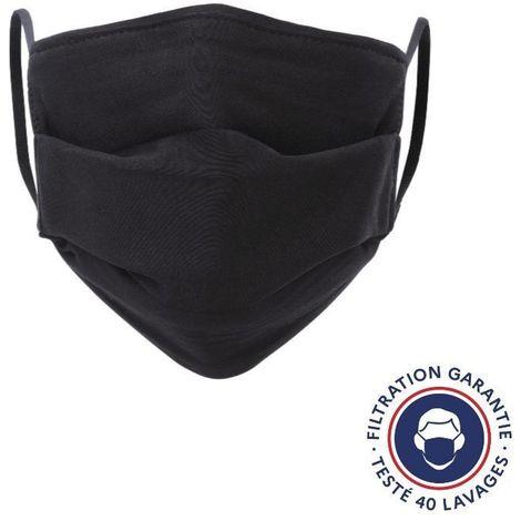 HEROLAB - Masques en tissu UNS 1 - Enfant et Adulte - Lavables et réutilisables -Grand Public Afnor DGA - Catégorie 1- Filtration 99% - 50 lavages - NOIR