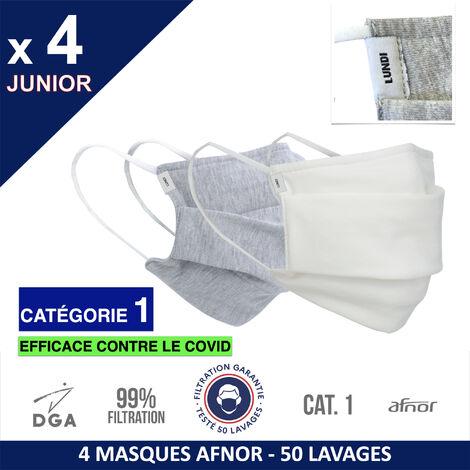 HEROLAB - Masques en tissu UNS 1 - Enfant - Lavables et réutilisables - Grand Public Afnor DGA - Catégorie 1- Filtration 99% - 50 lavages - JOUR DE SEMAINE