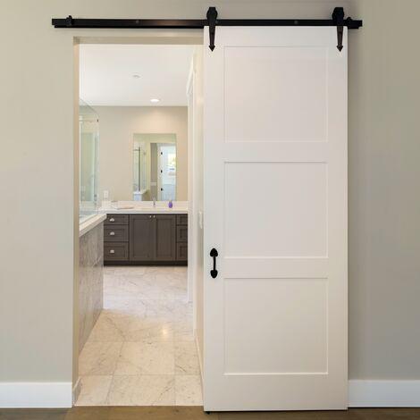 Herrajes para puerta corredera de madera 183 cm con rieles y tornillos de acero
