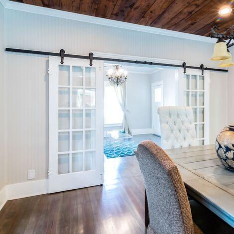 Herrajes para puerta corredera de madera 366 cm con rieles y tornillos de acero