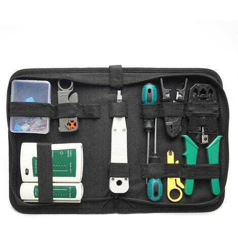 Herramienta de bolsa de hardware de red, equipo de herramientas de alicates de engarzadora de cable LAN de red