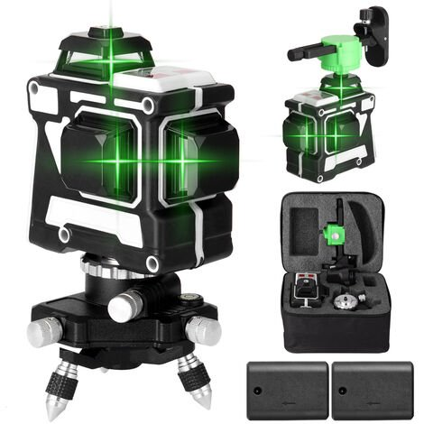 Herramienta de nivel laser multifuncional 3D de 12 lineas KKmoon,Enchufe de la UE, con soporte de pared