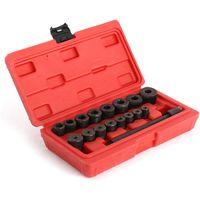 Herramientas de centrador embrague, Kit de Alineación de Embrague, 17 Partes, con estuche roja, Material: Acero C45